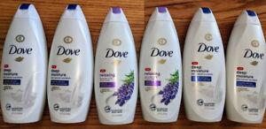 Mix Lot Bundle of 6 Brand New Dove Deep Moisture, Lavender Oil Body Wash  22 oz