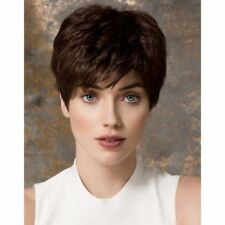100% Real Hair! Spiffy Dark Brown Natural Straight Short Wig For Women