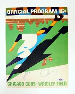 BOB BAILEY JEFF TORBORG Chicago Cubs Autographed 1967 Game Program w PSA/DNA COA
