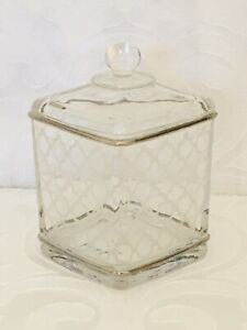 Nicole Miller Square Etched Glass Jar Container