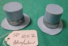 """2 Matching Blue Sparkle Paper Top Hats w Silver Bands for Mego 8"""" Dolls Sp1002"""