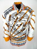 Mens Niko Shirt White Medusa Floral Designer Prints SIlky Slim Fit Button Up