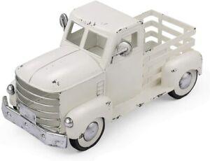 White Truck Decor Vintage Metal Truck Planter Farmhouse Pick-Up Truck Spring