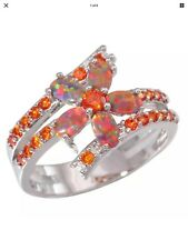 BYPASS / FLOWER RING FLOWER OPAL AND THE BYPASS IS ALL ORANGE TOPAZ SIZE 7 or 8