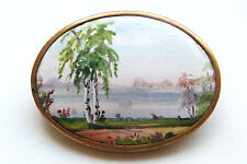 Antique Imperial Russian Brooch Oil painting Russian Motif  High Grade !!!