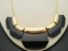"$24 Nordstrom Black Paddle Link Goldtone Snake Chain Statement Necklace 21"" Long"