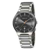 Bering Men's Watch Titanium Grey Dial Quartz Silver Tone Bracelet 11739-772