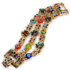 NEW SWEET ROMANCE BOLD ART DECO MILLEFIORI GLASS & CRYSTAL BRACELET ~MADE IN USA