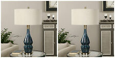 PAIR DEEP BLUE GLAZE CERAMIC TABLE LAMP BRUSHED AGED BRASS LINEN SHADE UTTERMOST