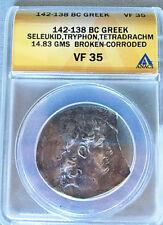 Seleucid Kingdom, Diodotos Tryphon 142-138 BC Silver AR Tetradrachm Rare ANACS!