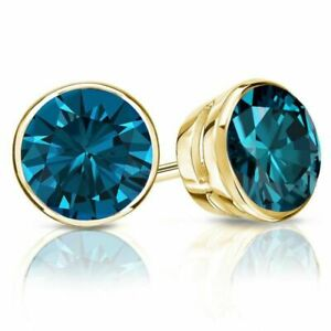2.00 Ct Round Blue Natural Diamond Solitaire Stud Earrings 14k Yellow Gold