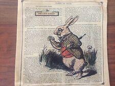 Alice in Wonderland Rabbit Retro Design Linen Square Pillow Cushion Cover.