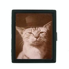 Vintage Cat D8 Regular Black Cigarette Case / Metal Wallet Old Fashioned Image