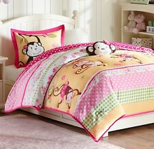 MONKEY TIME Twin (single) COMFORTER SET : GIRLS PINK POLKA DOTS JUNGLE ZOO BED