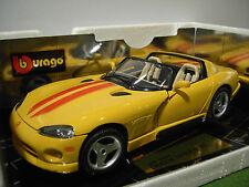 DODGE VIPER RT-10 Cabriolet de 1993 jaune au 1/18 BURAGO 3365 voiture miniature