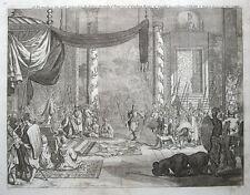 SRI LANKA, KANDY, EMPEROR OF CEYLON, Churchill's Voyages  antique print 1744.
