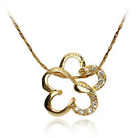 18k Gold GF solid with Swarovski crystals flower brilliant pendant necklace