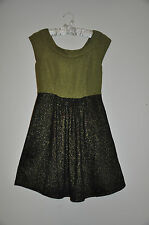 NEW WOMENS JUNIORS DRESS GREEN METALLIC BLACK GOLD By FOREVER XXI size S/P
