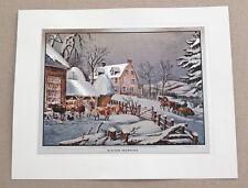 Vintage Currier and Ives Winter Morning Color Foil Etch Print