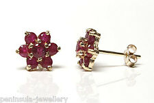 9ct Gold Stud Earrings Ruby cluster Gift Boxed