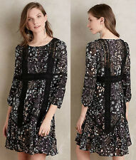 ANTHROPOLOGIE NWT Lily Peasant Dress Black Floral Lace Swing Sz 2 XS $178