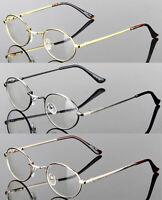 Mens Womens Clear Lens Eye Glasses Oval Vintage Retro Metal Frame Fashion Small