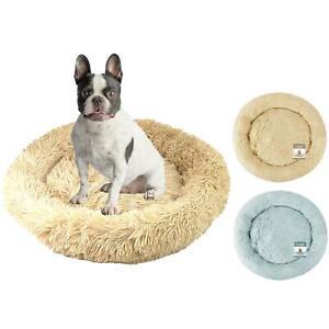 Dog Bed Fluffy Soft Cat Puppy Pet Donut Mattress Cushion Grey Beige Medium 65cm