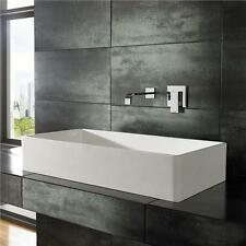 80cm by 40cm Rectangular Solid Surface White Counter Top Bathroom Sink Basin