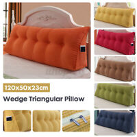 Large Triangular Wedge Pillow Headboard Cushion Reading Lumbar Pillow Sofa Bed