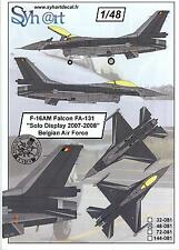 Syhart Decals 1/48 F-16AM FALCON SOLO DISPLAY 2007-2008 Belgian Air Force