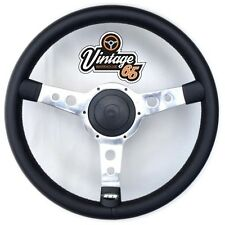 "Classic Car 13"" Retro Polished Spoke Black Vinyl Steering Wheel Boss Fitting Kit"