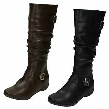 Ladies Down to Earth Flat High Leg Rouched BOOTS F4386 Brown UK 5 Standard