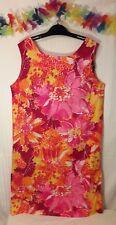 Vtg POMARE Hawaiian Mod Dress Size 16 Pink Orange Floral Pattern Luau Party