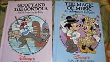 2 Disney's books, Small World Library, Goofy and the Gondola The Magic of Music