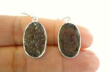 Oval Moldavite Meteorite Solitaire 925 Sterling Silver Dangle Drop Earrings