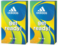 2x Adidas Get Ready! After Shave for Men New 2x100ml Aftershave FREE SHIPPING