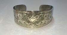 Hand Engraved Tibetan Conch Shell Design Silver Toned Cuff Bracelet