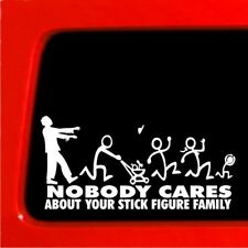 Zombie Stick Figure Family sticker Nobody Cares truck funny decal car
