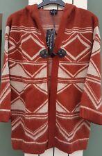 Womans Aztèque Brossé Cardigan à capuche taille 8-10