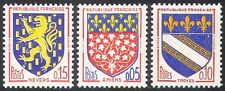 France 1962 French Towns Coats-of-Arms/Heraldry/Flowers/Lions 3v set (n41767)
