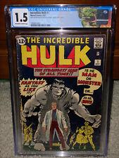 Hulk #1 CGC 1.5 Marvel 1962 Silver Age Key! Avengers! Iron Man! Thor! L9 124 cm