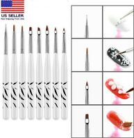 8Pcs/Set UV Gel Nail Art Brush Polish Painting Pen Brush For Manicure DIY Hot US
