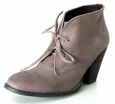 BOTTINES BOOTS DERBIES 36 derby cuir taupe talon lacets Ribu ONE STEP femme NEUF