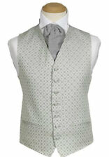 MENS WEDDING SILVER GREY DIAMOND DRESS SUIT WAISTCOAT 38 40 42