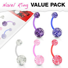 5pc Value Pack Bioflex Ultra Glitter Belly Rings 14g Navel Naval Body Jewelry