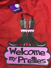 Halloween Decor Hanging Door Witch Boots Sign Welcome My Pretties 10x10 Inch