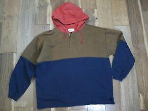 Eddie Bauer Men's Blue/Khaki/Red Colorblock Cotton/Poly Hoodie Sz L
