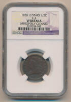 1828 13 Stars Classic Head Half Cent, C-3 NGC VF Details