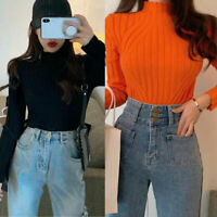 Winter Womens Baggy Knitted Slim Fit Sweater Jumper Long Pullover Tops Pollover