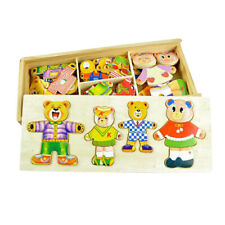 Clothes Match Wooden Bear Family Dress-Up Puzzle with Storage Case for Kids